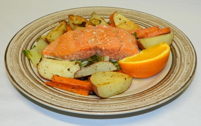 Microwave steamed salmon with bok choy and roasted root vegetables.
