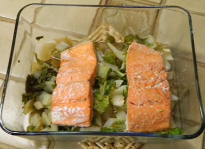Microwave Steamed Salmon with Bok Choy