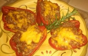 Red Bell Bell Peppers Stuffed with Beans and Rice