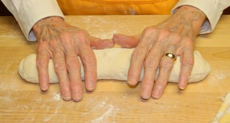 Forming the Frenchbread loaf.