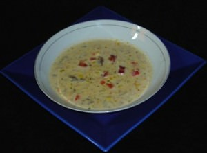 A serving of Corn and Mushroom Chowder