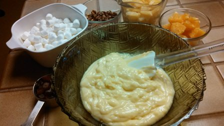 Ingredients for marshmallow pineapple salad