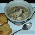 Beef Barley Soup with Toasted French Bread