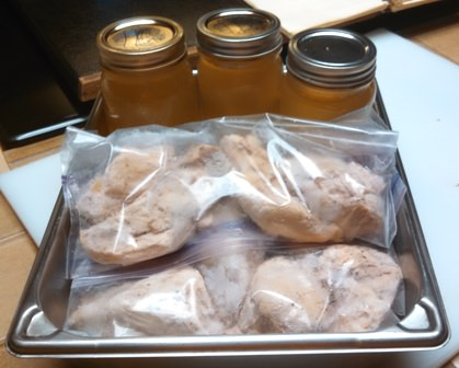 Cooked chicken breasts to freeze; canned broth