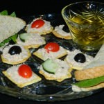 Ham Salad spread on Sandwiches and Crackers