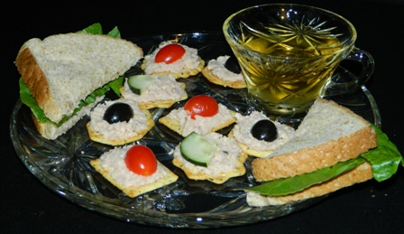 Ham Salad Spread Sandwich and appetizer.