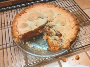 Peach pie with flaky Coconut Oil Pie Dough
